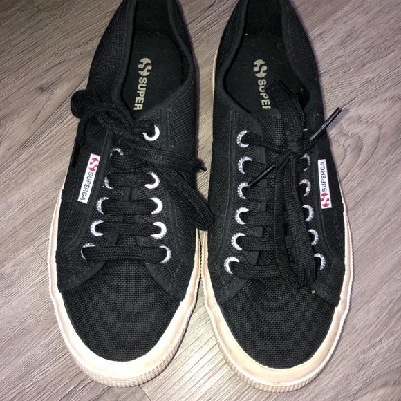 Superga Shoes | Black Supergas | Poshmark